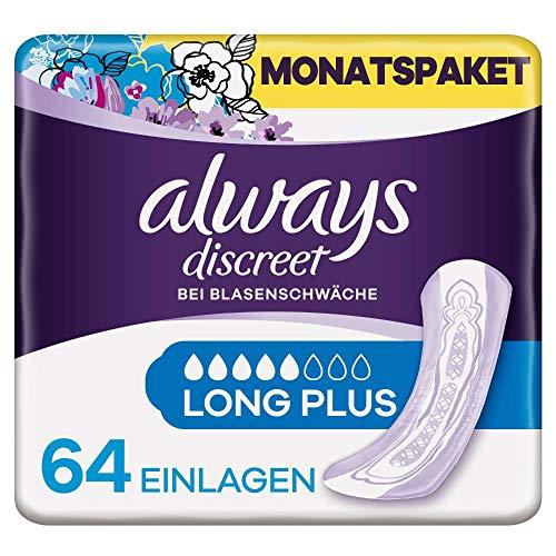 Always Discreet Inkontinenzeinlagen Long Plus (64 Binden) Monatspaket, diskreter Schutz & hohe Saugstärke, geruchsneutralisierend, 4 x 16 Stück (Verpackung kann variieren)