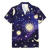 CAOQAO Camisa Hombre Manga Corta Hawaiana Casual Camisa con Estampado Sun Moon de Star, Camiseta de Vacaciones