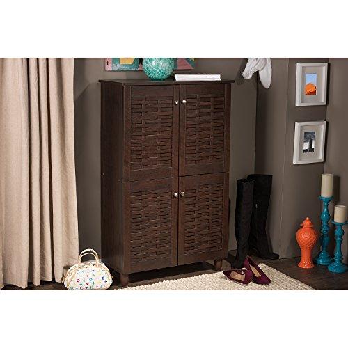 Wholesale Interiors Baxton Studio Winda Modern and Contemporary 4-Door Dark Brown Wooden Entryway Shoes Storage Cabinet