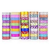 Hangarone 50 rollos Glitter Washi Tape Set, Washi Masking bandas decorativas para DIY decoración Planer Scrapbooking adhesivo escuela / Partybedarf, Glitter Craft Tapes