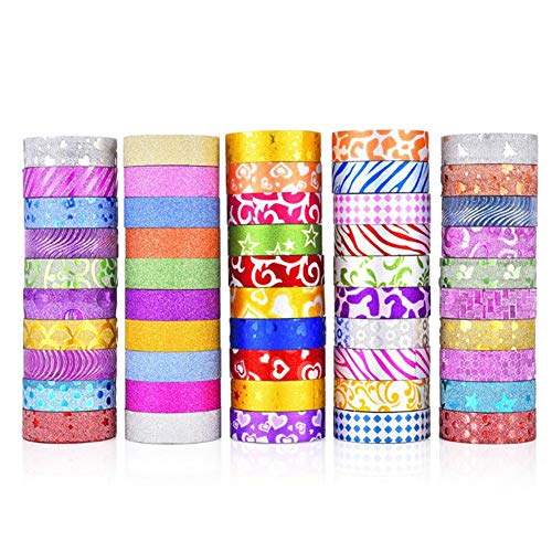 50 Rolls Glitter Washi Tape Set, Washi Masking Decorative Tapes, Washi Masking Great DIY Decor Scrapbooking Sticker Masking Paper Decoration Tape School Party Supplies