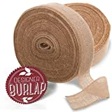 Burlap Ribbon 4' x 100 Yards with Fringed & Rustic...