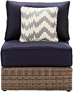 Home Decorators Collection Naples Outdoor Sectional Pieces, ARMLESS Chair, Grey Navy