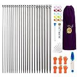 MoneRffi - Set di ferri da maglia in acciaio inox, 22 pezzi, 2-8 mm (11 paia - 11 misure) con custodia