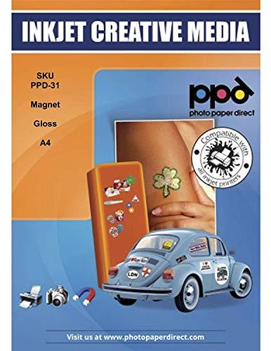 PPD DIN A4 Inkjet Magnet Fotopapier (Magnetpapier) Glänzend - individuell bedruckbar und zuschneidbar für Kühlschrankmagneten und Bastelarbeiten uvm DIN A4 x 5 Blatt PPD031-5