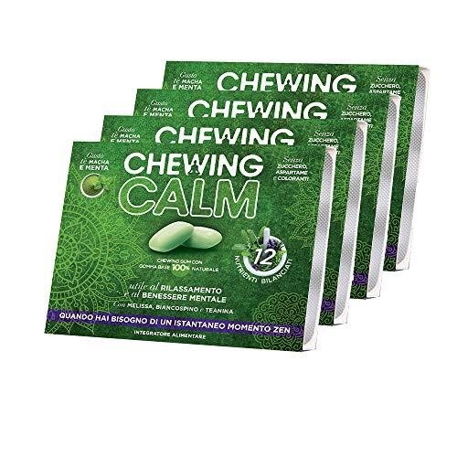 Chewing Calm – Integratore Rilassante in Chewing Gum Contro Ansia, Stress, Nervosismo e Stanchezza Mentale con Melissa, Teanina, Biancospino, Gaba e Vitamine – 4 Confezioni da 9 gomme