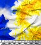 Soimoi Azul satén de crepé de Japón Tela tresillo Tie-Dye Tela Estampada Impresa por Metro 42 Pulgadas de Ancho