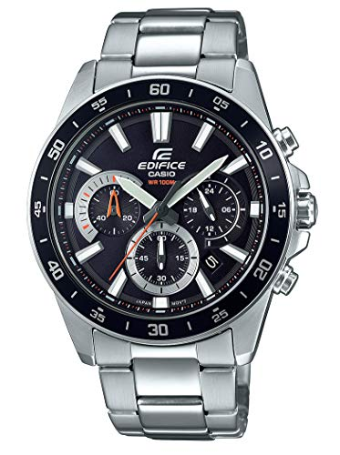Casio EDIFICE Orologio, Robusta Cassa, 10 BAR, Nero, Uomo con Cinturino in Acciaio Inox EFV-570D-1AVUEF