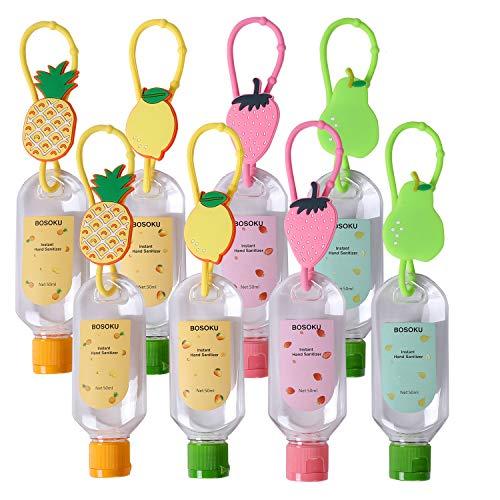 Botellas de viaje portátiles con llavero y pieza con forma de fruta (50 ml). Recipientes recargables vacíos perfectos para que los niños lleven desinfectante de mano