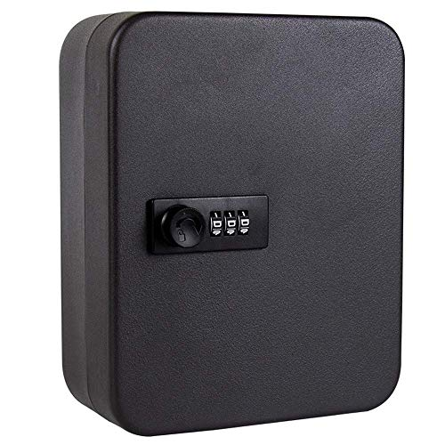 Mantimes Caja de llaves de acero, caja de seguridad con cerradura de combinación, color negro (28 llaves de 10 x 7 x 7 cm)