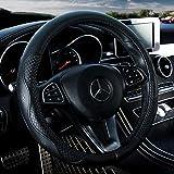 Black Leather Steering Wheel Cover...