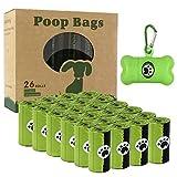 Sacchetti per escrementi di cani, 26 rotoli (390 sacchetti) – Sacchetti biodegradabili con 1 dispenser gratuito, a prova di perdite e profumati per cani