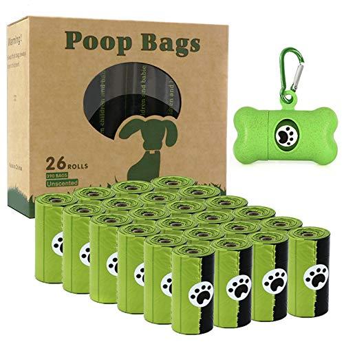 Lot de 26 rouleaux de sacs à déjections canines (390 sacs) - Sacs à déjections canines biodégradables avec 1 distributeur gratuit - Sacs à déjections canines étanches et parfumés
