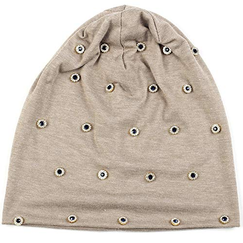 Gorro Beanie Sombrero Hat Gorros Casuales De Invierno para Mujer con Anillo De Metal con Diamantes De Imitación, Gorros para Mujer, Gorros De Punto Acanalados De Algodón Holgados, Gorro para Niña