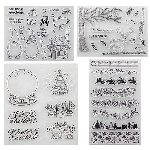 Stempel Weihnachten, 4 Blätter Clearstamp Weihnachten, Frohe Weihnachten Stempel, Silikonstempel Winter, Clearstempel Stanzschablonen für Scrapbooking Karten DIY, Kinder Weihnachten Geschenke