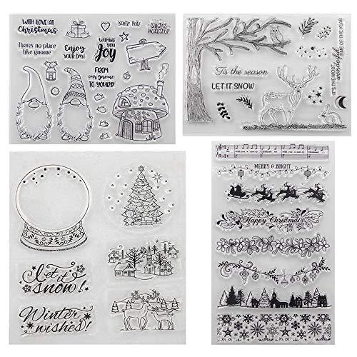 Sellos Navidad, Transparente Sello de Silicona, Sello de Goma para Tarjetas de Navidad, DIY Álbum, Scrapbooking,Perfecto Regalo de Navidad Niños