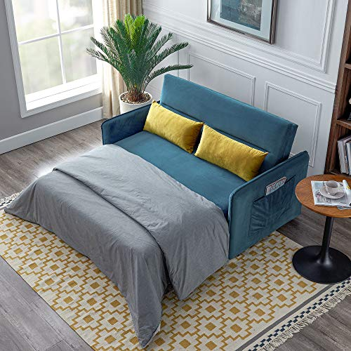 """Knowlife Soft Velvet Sleeper Sofa Bed,Compact Pull-Out 2 Seaters Sleeper, 57"""" W with 2 Lumbar Pillow Blue"""