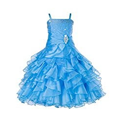 Turquoise Rhinestone Organza Layer Flower Girl Dresses