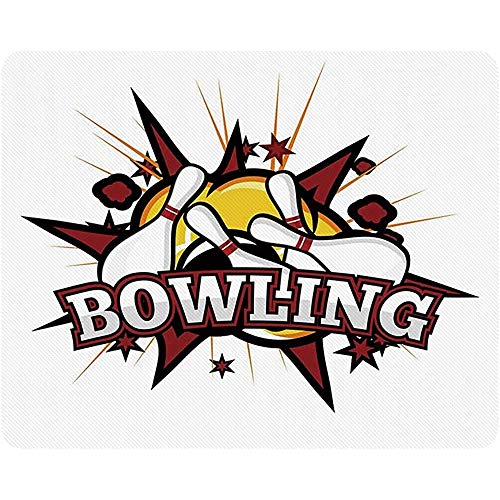 Bowling Party Dekorationen Mousepad, Cartoon Comic-Stil Design Stars Retro Crash-Effekte