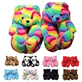 Fuupnn Teddy Bear Slippers For Women, Faux Fur Plush Cute Funny Indoor House Slides, Womens Girls Fuzzy Winter Warm Anti-Slip Soft Fluffy Home Bedroom Cartoon furry Shoes Size 5.5-9.5 (Iridescence)