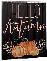 こんにちは秋のカボチャのシャワーカーテン、バスルームのカーテンの装飾のためのポリエステル防水ファブリックバスタブセットフック付き60 X72インチ-プラスチック-ワンサイズ