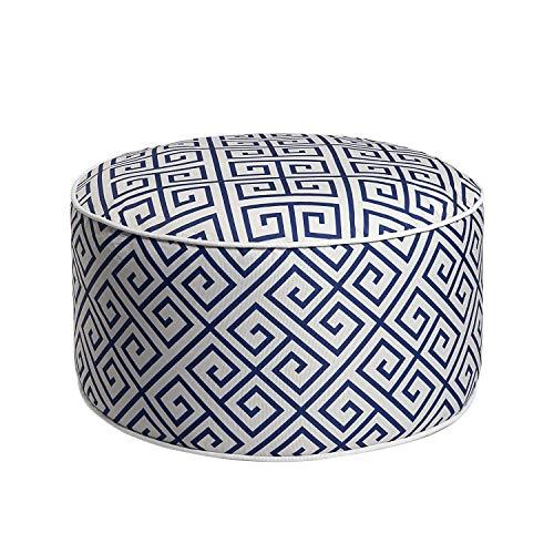 Art Leon Outdoor Inflatable Ottoman Blue Round Patio Footstool