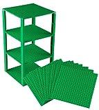 Strictly Briks Set per Costruzione Torre - Include 10 basi impilabili da 15,2 x 15,2 cm e pilastri 2x2 - compatibili con Tutte Le Principali Marche - Verde