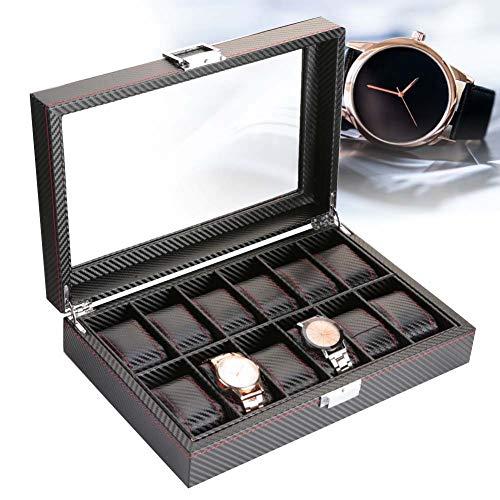 AYNEFY Caja de Vitrina para 12 Relojes, Caja de Reloj de 12 Ranuras Caja de Fibra de Carbono de Viaje Organizador de Colector de Slmacenamiento de Exhibición de Joyería de Cuero Negro