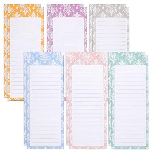 Coloridos blocs magnéticos para refrigerador, comestibles, compras, listas de tareas pendientes, notas, 6 diseños elegantes (paquete de 12)
