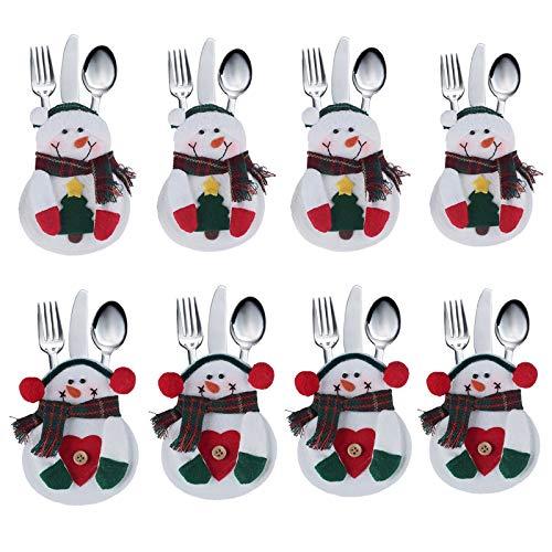 Deggodech 8 Natale Pupazzo di Neve Porta Posate Natale da Tavolo, Decoro Natalizio, in Confezione Regalo