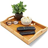 wood food serving tray with double handles - for breakfast in bed, party service, and more -