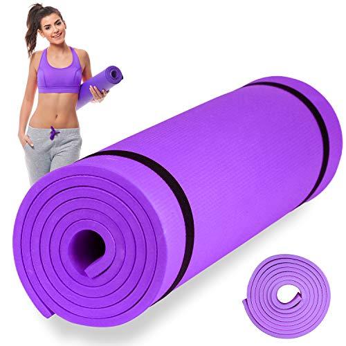 Esterilla de Fitness, Alfombra Yoga, Colchoneta de Gimnasia (Violeta, 173X60X0,6 cm)