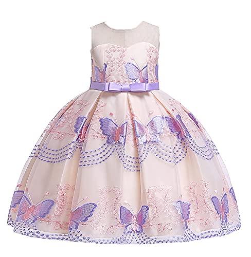 WAWALI Vestido de princesa con bordado de mariposa, para cumpleaños, fiesta, baile, vestidos de noche, de 3 a 10 años, Morado (, 4-5 Años