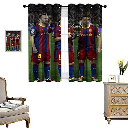 DRAGON VINES Blackout Curtains for Living Room Curtains for Living Room Iniesta Xavi and Messi Indoor Decoration Set of 2 Panels W55 x L72
