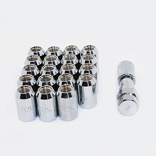 MODAUTO Juego de Tuercas Abiertas para Esparrago Rueda o Separadores, con Llave de Apriete Hexagonal, Paso de Rosca M12 X 1,25mm, 20Pcs, Modelo F320ASV, Color Plata
