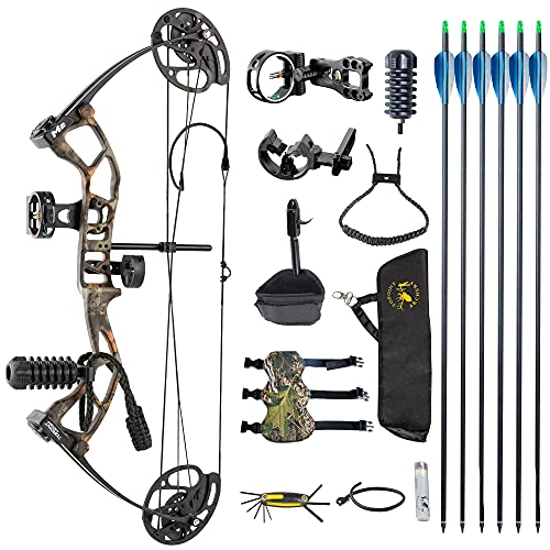 DJH Archery Youth Compound Bow Package,Draw Weight 10-40 Lbs Adjustable,Draw Length 17'-27' Adjustable,Axle to Axle 25',Lightweight Design,USA-Made Limbs by Gordon Composites (CAMO)