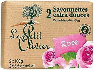 ル?プティ?オリヴィエ余分なマイルドソープは2×100グラムをバラ x4 - Le Petit Olivier Extra Mild Rose Soap 2 x 100g (Pack of 4) [並行輸入品]