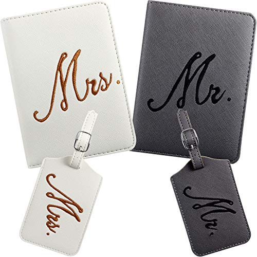 2 Packs Mr and Mrs Bridal Luggage Tags and Passport Covers(White and Gray)
