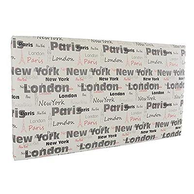 🛌 CITY - Cabecero con una estructura de madera y tapizado en polipiel, con un estampado juvenil y moderno. 🛌 ESPECIFICACIONES - Estampado basado en Paris, New York y London, con un fondo de color blanco. Medidas: 105x5x50 cm. 🛌 TRANSPIRABLE - La part...