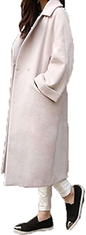 Dreamedge Thicken Wool Coat Female Cardigan Overcoat TurnDown Collar Long Women Clothing Black Woolen Coat