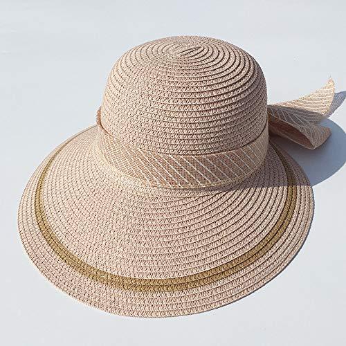 mlpnko Strohhut Sonnenhut weiblicher Sonnenschutz Gesicht wild im Freien Fahrrad Sonnenschirm UV Strand Hut rosa einstellbar