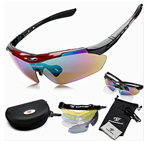 SaySure - Men Women Polarized Cycling Eyewear Sunglass Outdoor Cycling Glasses Bicycle Bike 0089 Sports Sun Glasses 5 Lenses - GMN-BG-SPT-000381
