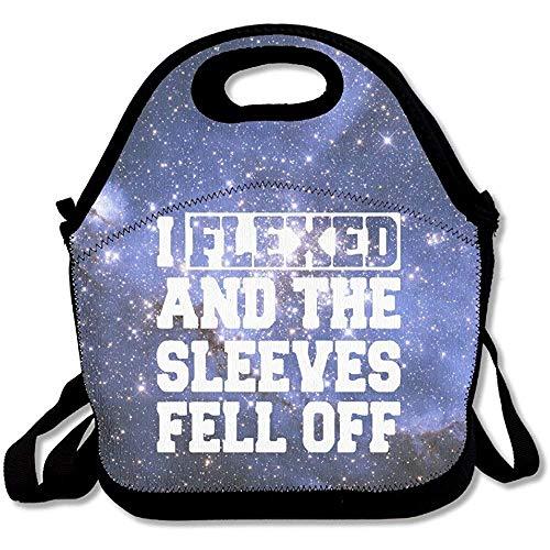 I Flexed and My Sleeves Fell Off - Bolsas de almuerzo de neopreno grandes y gruesas con aislamiento, bolsa térmica y cálida con correa para el hombro para mujeres, adolescentes, niñas, adultos