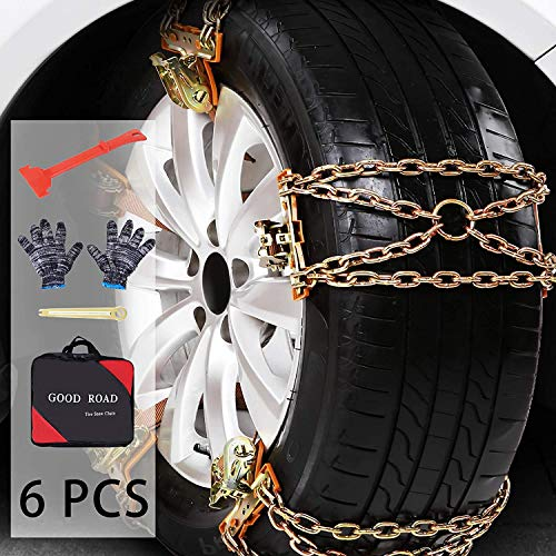 ACUMSTE Car Snow Chains, Emergency Anti Slip Snow Tire Chains for Most Cars/SUV/Trucks,Winter Universal Security Chains Tire Width 6.5-10.43'',100% TPU (6PCS)