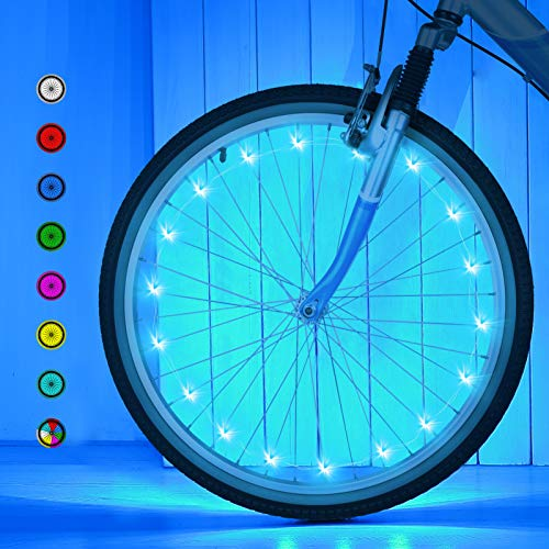Bike Wheel Lights,Upgrade LED Bike Wheel Lights,Waterproof Bicycle Spoke Lights for Wheels-7 Colors in 1-18 Modes for All Ages(3 AA Battery Included)