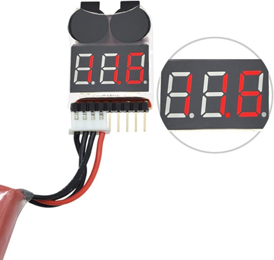 1-8S Lipo/Li-ion/Fe RC Boat Battery 2 in 1 Tester - LED Low Voltage with Buzzer Alarm