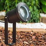 Gartenstrahler Pilsen, Gartenlampe mit Erdspieß, Außenleuchte aus Aluminium in Schwarz, Gartenbeleuchtung mit GU10-Fassung, max. 35 Watt, Gartenspot mit 2,5 Meter Zuleitung, LED geeignet