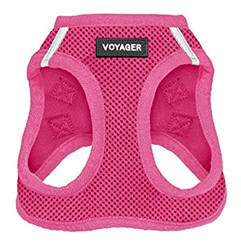 Voyager Step-in Air Dog Harness - All Weather Mesh Step in Vest Harness for Small and Medium Dogs by Best Pet Supplies - Fuchsia  Matching Trim  M  Chest  16 - 18
