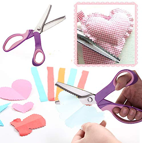 Stof Papier Pinking Craft Shears - Grootte van 3 5 7mm RVS Zig Zag Serrated Scalloped Edges Gesneden Schaar voor Borduurwerk Naaien Dressmaking Snijwerk en Bekleding Dressmaking Scalloped_5mm