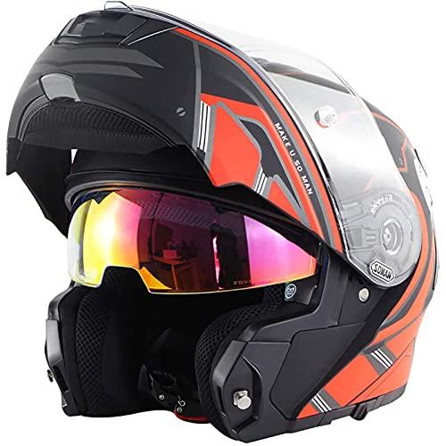 LLDKA Casco Modular de la Motocicleta Casco de Motocicleta Modular con visión Doble Casco de Motocicleta Modular (Color : Black Red 2, Size : XXL)